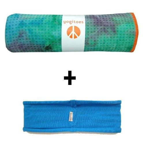Eco Natural Yoga Mat Towel Combo: Seaburst Yogitoes Mat Size SKIDLESS Yoga Towel Blue HBand
