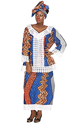 African Planet Women's 3 Piece Set Kenya Sengal Inspired Blue Print Blouse Gele