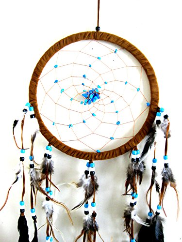 """Dream Catcher DreamCatcher - BROWN SUEDE WITH TURQUOISE STONE - Handmade, LARGE SIZE - 28"""" Long x 9"""" Diameter - OMA® BRAND"""