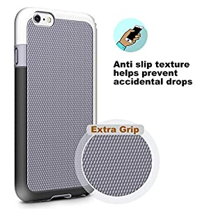 iPhone 6 Case, LoHi Hybrid Impact 3 Color TPU Shockproof Rugged Case [Extra Front Raised Lip] Back Strips Anti-slip [Protective Buffer] Dual Protection Cover Case for iPhone 6/6s 4.7 Inch (Grey)