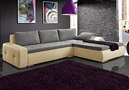 MAX beige and grey faux leather and fabric large corner sofa bed couch with storage sleeping area living room furniture