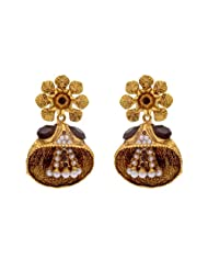 ANTIQUE GOLDEN STONE STUDDED FLOWER STYLE EARRINGS/HANGINGS (BLACK) - PCAE2206