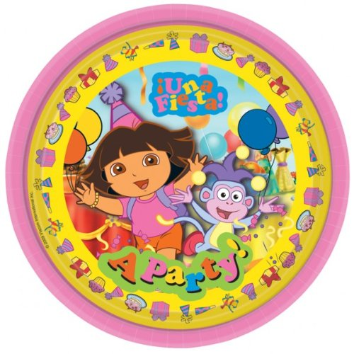 Dora The Explorer Party Plates 22.8cms, pk of 8
