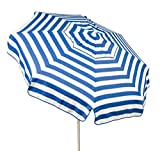 Patio Furniture-Patio Umbrella- 6' Parasol Italian-Color STRIPES BLUE WHITE-This gorgeous Italian Patio Umbrella made from high-quality acrylic canopy that makes it long-lasting-Water and UV reasistant-can be manually tilted and adjusted as per your requi