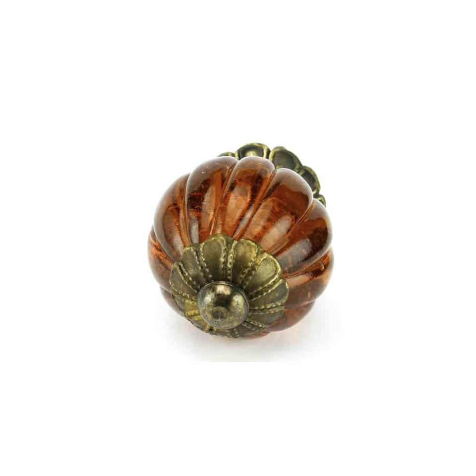 Rich Amber Glass Ball Cabinet Knobs, Drawer Pulls Knob & Handles Set/12pc ~ K194FF Vintage Style Old Amber Pumpkin Shaped Glass Knobs with Antique Brass Florentine Hardware. Glass Knobs, Handles & Pulls for Dresser, Drawers, Cabinets & Vanity