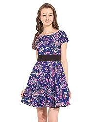 Floral Printed Raglan Sleeves Polyester Skater Dress X-Large