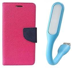 Novo Style Book Style Folio Wallet Case Micromax A106 Unite 2 Pink + Mini USB LED Light Adjust Angle / bendable Portable Flexible USB Light