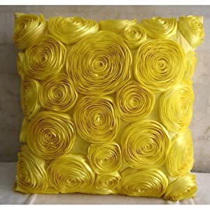 Sun Blooms - 12x12 inches Square Decorative Throw Yellow Silk Pillow Covers with Satin Ribbon Embroidery