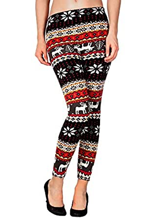 Girls' Winter Warm Tights Pants Knitted Leggings Snowflake Reindeer Print