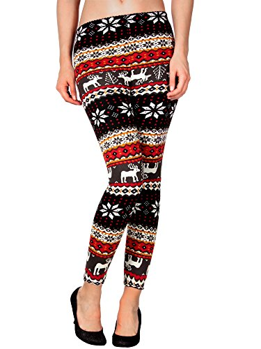 Womens Crazy Holiday Print Leggings