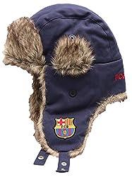 Barcelona FC Football Soccer Men's Winter Ski Trapper Hat M/L Navy