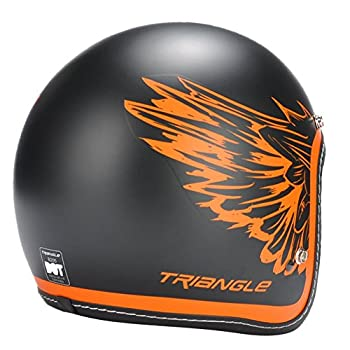 "3/4 Retro Open Face, Cruiser, Scooter, Matte Black/Orange ""Wings"" Helmet by Triangle [DOT] (Large)"