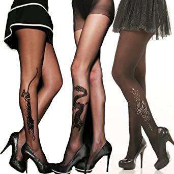 Angelina Sheer Pantyhose with Flocking, Rhinestones, and Glitter Print. #9414_6