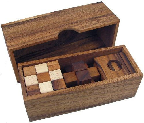 Cheap Fun 3 Wooden Puzzles Gift Set In A Wooden Box (B002P8PPF0)