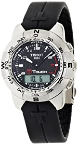 Tissot Men's T33789892 T-Touch Polished Titanium Black Rubber Watch