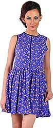 Mabyn Women's A-Line Dress (SSSSD10 _L, Blue, L)