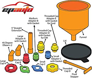 EPAuto Spill-Proof Radiator Coolant Filling Funnel Kit from EPAuto