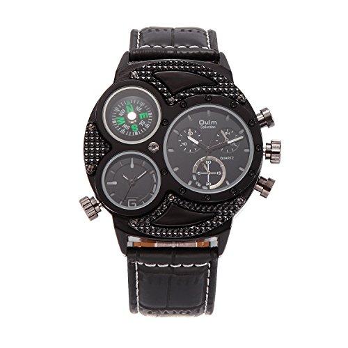 GL Business Leisure Multi fuso orario pelle Band orologio al quarzo, vita, Nero