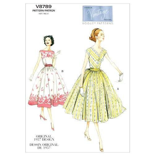 vogue-patterns-v8789-cartamodelli-a5-per-abito-e-fascia-vita-da-donna-taglie-dalla-40-alla-48-in-lin