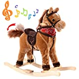 Kids Ride On Rocking Horse Wooden Baby Animal Rocker Chair Toys Children Sounds.
