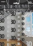 Glitz Noir 30 Ans Ornement Joyeux Anniversaire à suspendre de 1m50 - Pack de 6 rangées