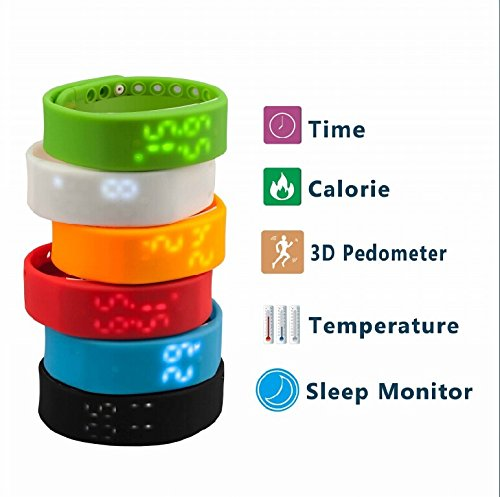 IEJ0B ForTech Slims Bracelet Watch Pedometer, Sleep monitoring,Temperature monitoring,Time Display , Digital Time Display (Black)