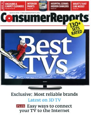 Consumer Reports March 2010 Best TVs, Most Reliable