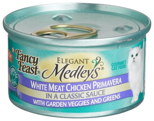 Fancy Feast Elegant Medleys for Cats, White Meat Chicken Primavera in a Classic Sauce with Garden Veggies and Greens, 3-Ounce Cans (Pack of 24)