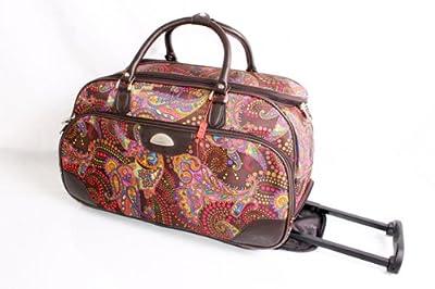 Ladies Paisley Print Brown Travel Bag on wheels/ Luggage Bag/gym bag/weekend bag