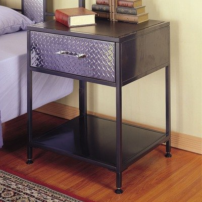 Cheap Monster Kids Nightstand with Chrome Plated Drawer Front in Charcoal Finish (B0070YUMBG)