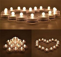 Lilone (Set of 12) Submersible Tealight LED Candle, Battery Operated Festival Decor: Ganesh Chaturthi Navratri Lohri Diwali Christmas New Year