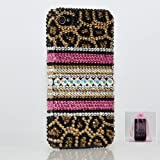 Swarovski Luxury Leopard Crystal Bling Case Cover for iphone 4 / 4s 100% Handcrafted by BlingAngels + Branded Pink Carrying Pouch