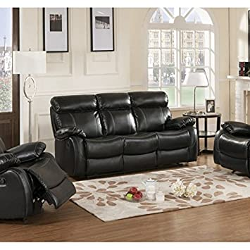 Primo International Chateau Contemporary Motion Reclining Sofa, Black
