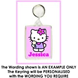 Personalised HELLO KITTY Keyring / Bag Tag - Ideal for School Bags, Lunch Boxes etc.