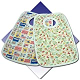 3 x Junior Joy Large Pop Over Printed Bibs, 100% Cotton.MADE IN ENGLAND