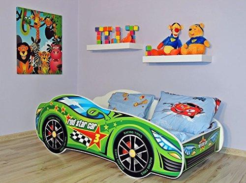 Lit auto vert + sommier + matelas 140x70 cm