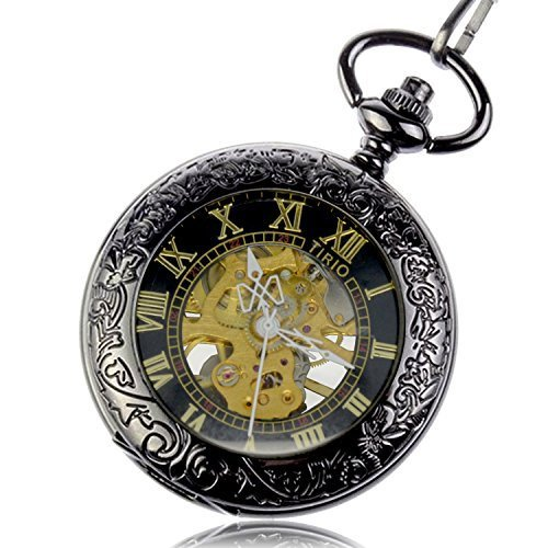 Tirio Steampunk Pocket Watch Pendant Roman Number Half Hunter Antiqued Silver Black with New Gift Box