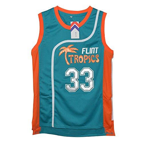 "MOLPE Men's Jackie Moon 33 ""Flint Tropics"" Basketball Jersey S-XXXL Green"
