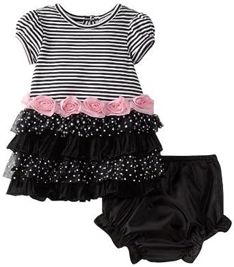 Rare Editions Baby Girls Newborn Tiered Dress, Black, 3-6 Months