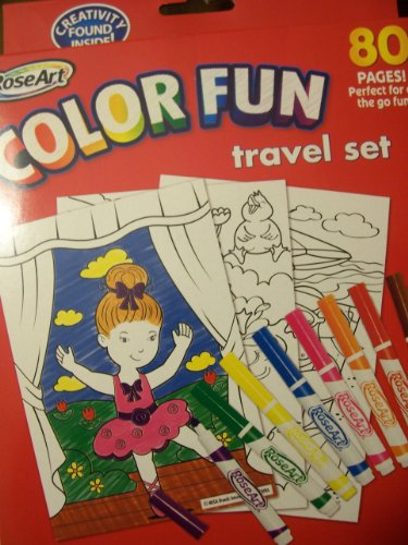 RoseArt Color Fun Travel Set ~ 80 Pages and 8 Washable Markers