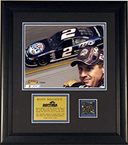 Rusty Wallace Framed 8x10 Photo with Rave Used Daytona Track - Mounted Memories... by Sports Memorabilia