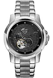 Harley-Davidson Men's Bulova Automatic Embossed Black Wrist Watch 76A144