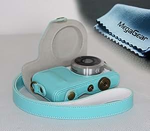 MegaGear Leder Kameratasche für Kompaktkamera Samsung NX Mini mit 9mm Objektiv-Kit (Blau)