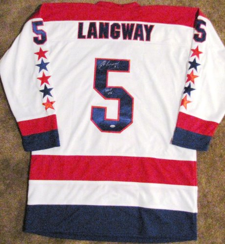 Rod Langway Autographed White Custom Jersey - Washington Capitals - HOF 02 Insc at Amazon.com