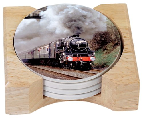 CounterArt Train Design Round Absorbent Coasters in Wooden Holder, Set of 4