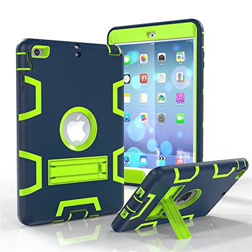 iPad mini Case, iPad mini 2 Case, iPad mini 3 Case, KAMII [Robot Series] Shock-Absorption / High Impact Resistant Hybrid Three Layer Armor Defender Full Body Protective (Navy-Yellow) (Marvel Ipad 2 Case compare prices)