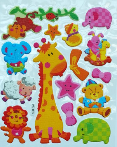 Jazzstick Animal Adhesive Foam Kids Room/Nursery Decorative Wall Sticker A4 size (VST41A04)