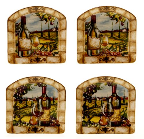 Certified International Tuscan View Canape Plate, 6-Inch, 2 Assorted Designs, Set of 4
