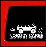 Stick Figure sticker for Jeep Cherokee Family Nobody Cares funny truck white decal bumper *