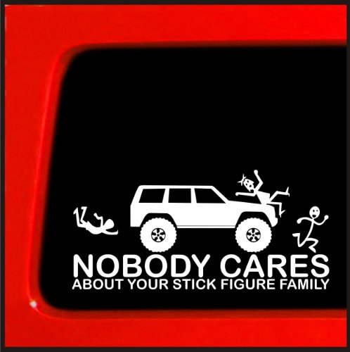 Stick Figure sticker for Jeep Cherokee Family Nobody Cares funny truck white decal bumper sticker